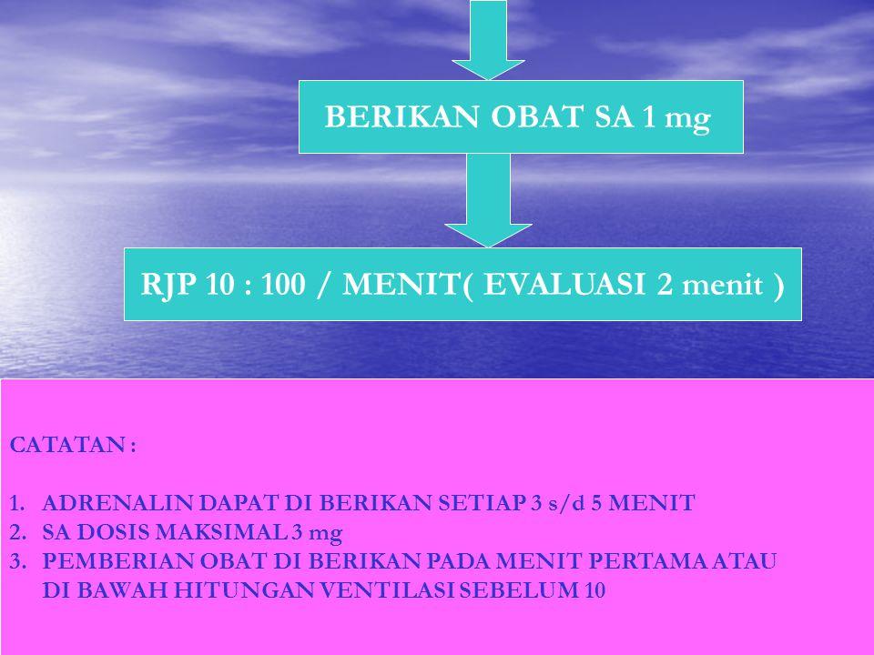 RJP 10 : 100 / MENIT( EVALUASI 2 menit )