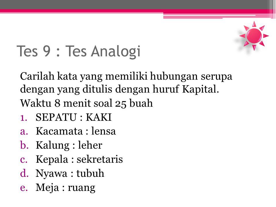 Tes 9 : Tes Analogi Carilah kata yang memiliki hubungan serupa dengan yang ditulis dengan huruf Kapital.