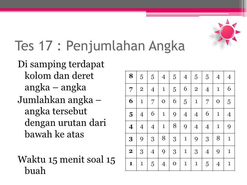 Tes 17 : Penjumlahan Angka