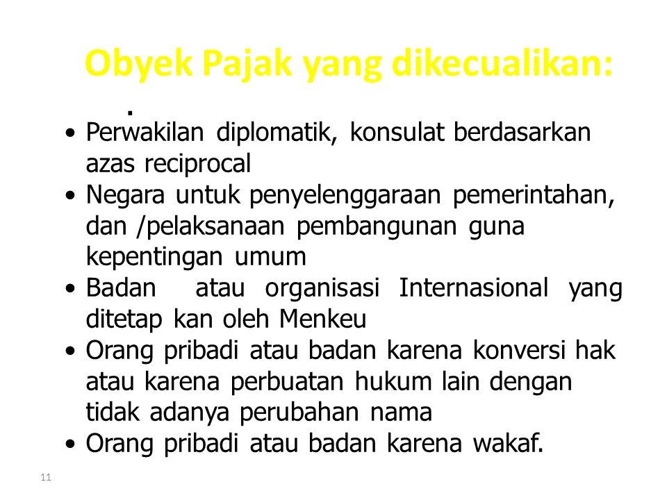 Obyek Pajak yang dikecualikan: