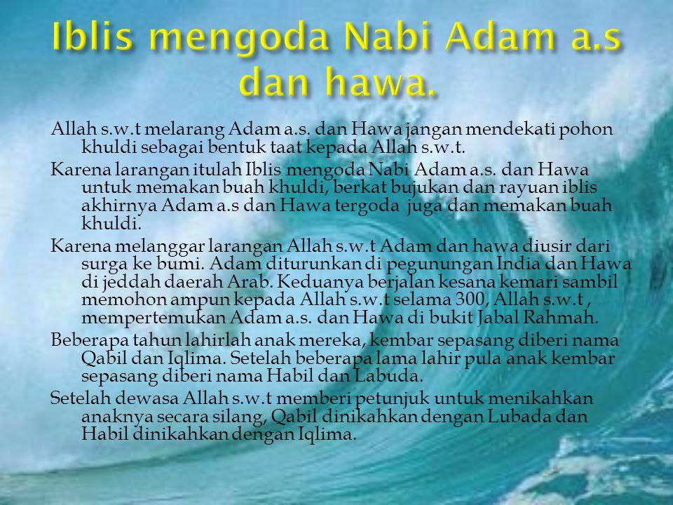 Iblis mengoda Nabi Adam a.s dan hawa.