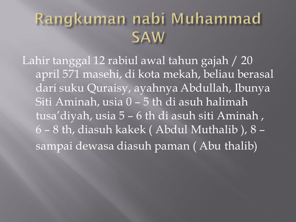 Rangkuman nabi Muhammad SAW