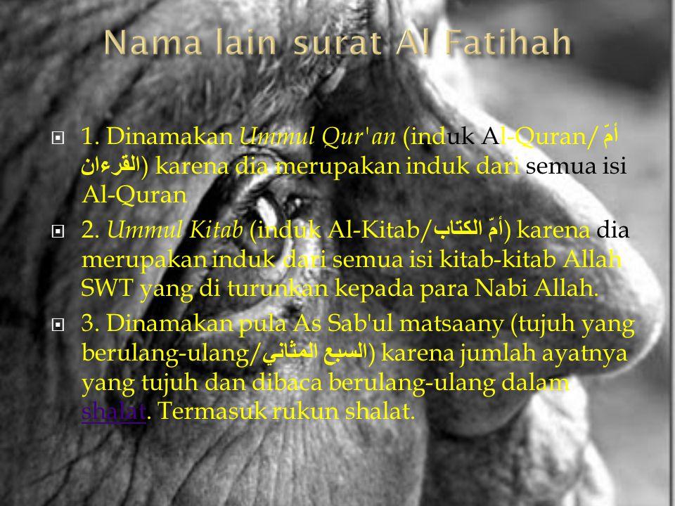 Nama lain surat Al Fatihah
