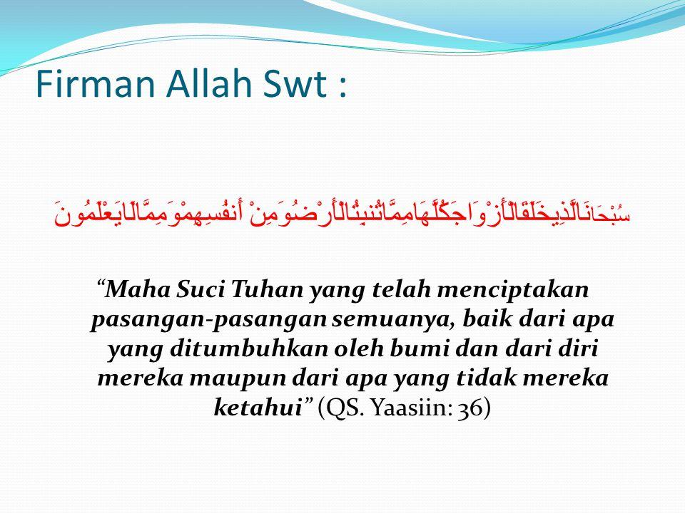 Firman Allah Swt : سُبْحَانَالَّذِيخَلَقَالْأَزْوَاجَكُلَّهَامِمَّاتُنبِتُالْأَرْضُوَمِنْ أَنفُسِهِمْوَمِمَّالَايَعْلَمُونَ