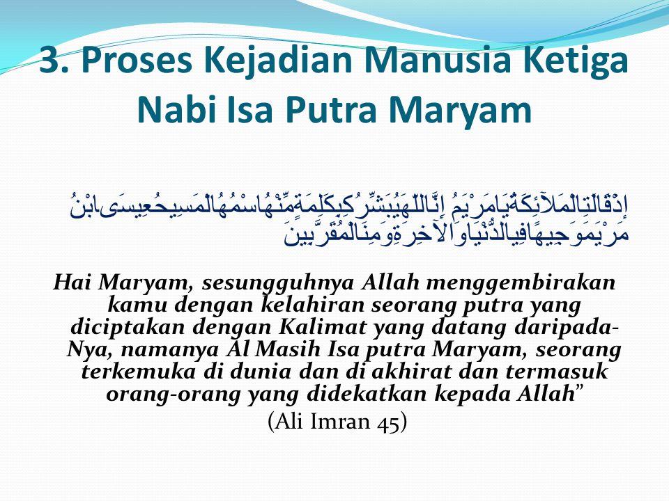 3. Proses Kejadian Manusia Ketiga Nabi Isa Putra Maryam