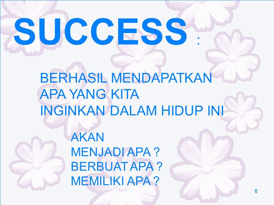 SUCCESS : BERHASIL MENDAPATKAN APA YANG KITA INGINKAN DALAM HIDUP INI