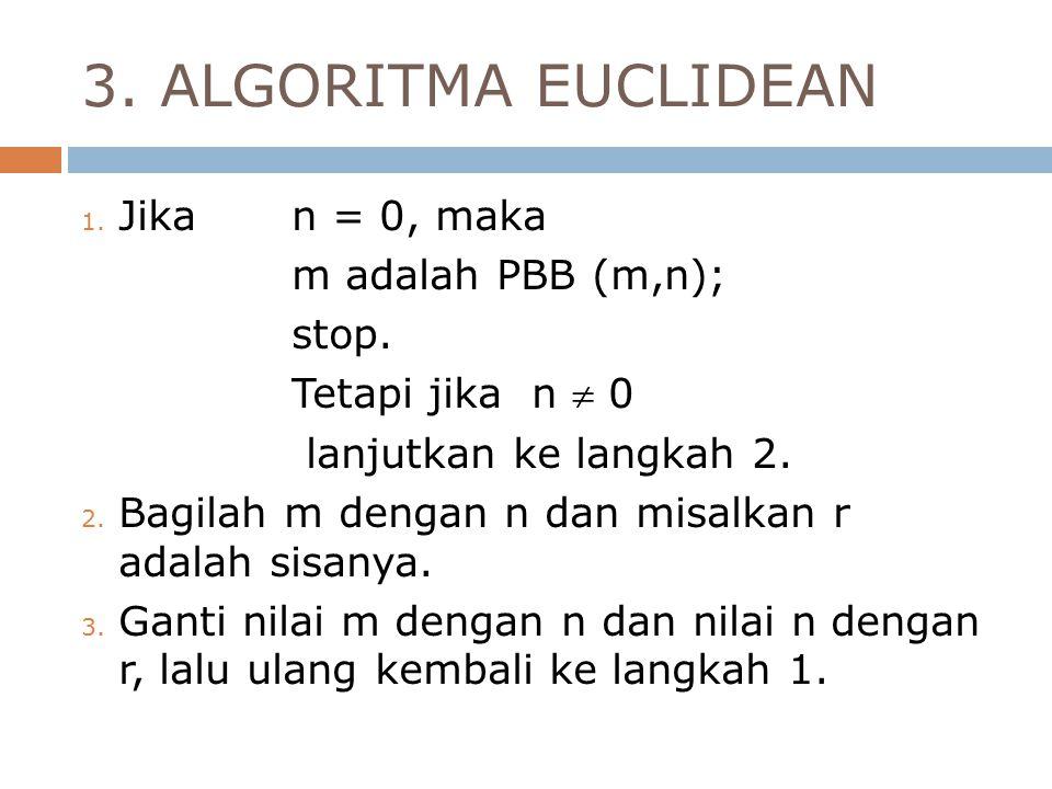 3. ALGORITMA EUCLIDEAN Jika n = 0, maka m adalah PBB (m,n); stop.