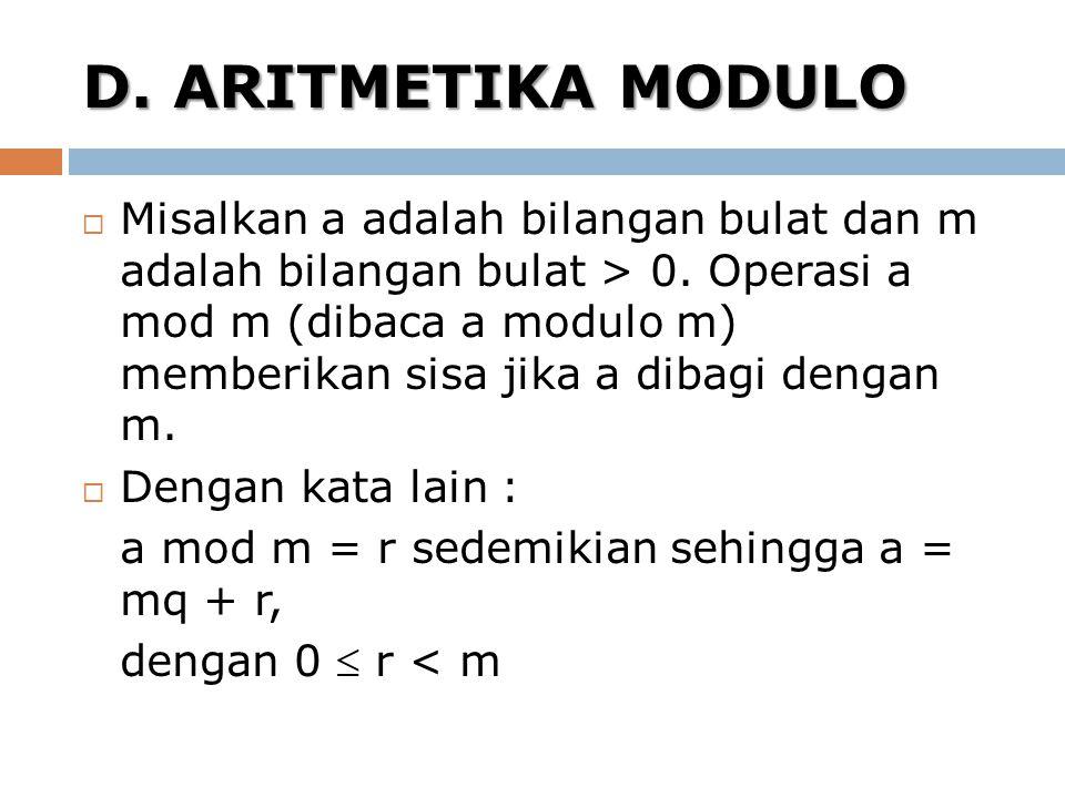 D. ARITMETIKA MODULO