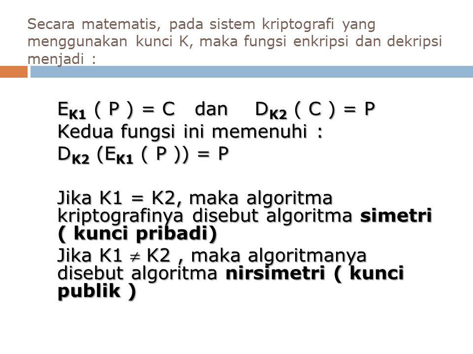 EK1 ( P ) = C dan DK2 ( C ) = P Kedua fungsi ini memenuhi :