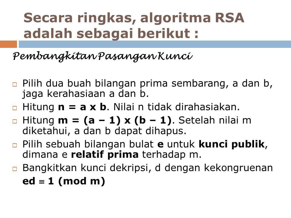 Secara ringkas, algoritma RSA adalah sebagai berikut :