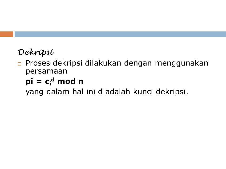 Dekripsi Proses dekripsi dilakukan dengan menggunakan persamaan.