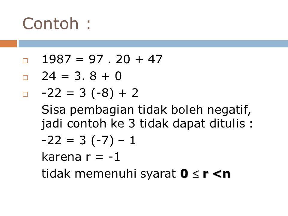 Contoh : 1987 = 97 . 20 + 47. 24 = 3. 8 + 0. -22 = 3 (-8) + 2. Sisa pembagian tidak boleh negatif, jadi contoh ke 3 tidak dapat ditulis :
