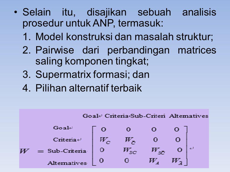Selain itu, disajikan sebuah analisis prosedur untuk ANP, termasuk: