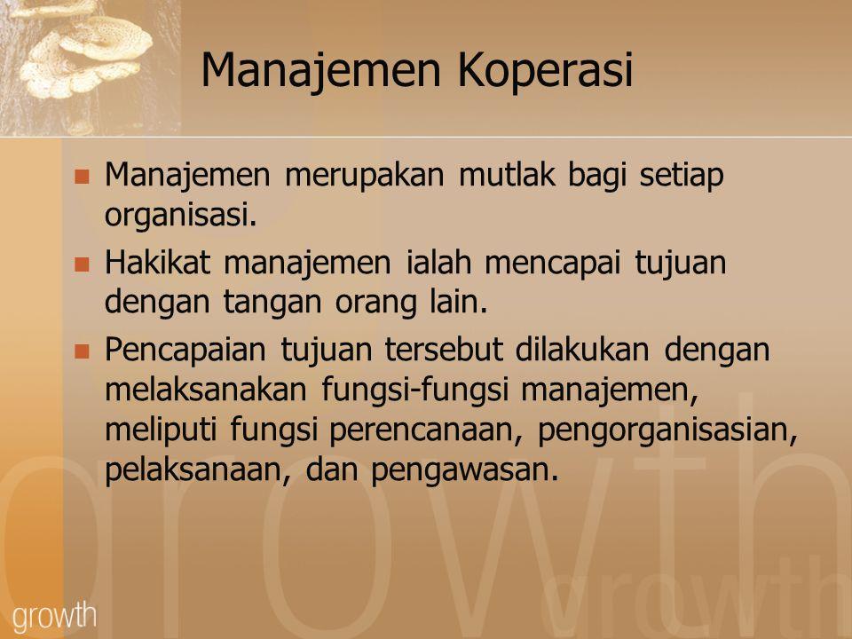 Manajemen Koperasi Manajemen merupakan mutlak bagi setiap organisasi.