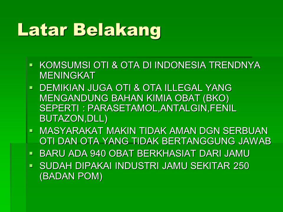 Latar Belakang KOMSUMSI OTI & OTA DI INDONESIA TRENDNYA MENINGKAT