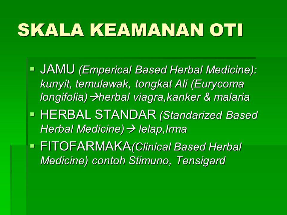 SKALA KEAMANAN OTI JAMU (Emperical Based Herbal Medicine): kunyit, temulawak, tongkat Ali (Eurycoma longifolia)herbal viagra,kanker & malaria.