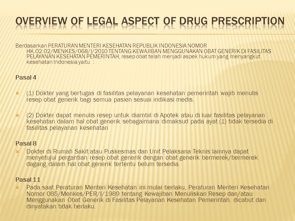Overview of legal aspect of drug prescription