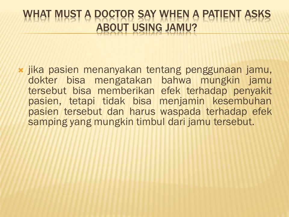 What must a doctor say when a patient asks about using jamu