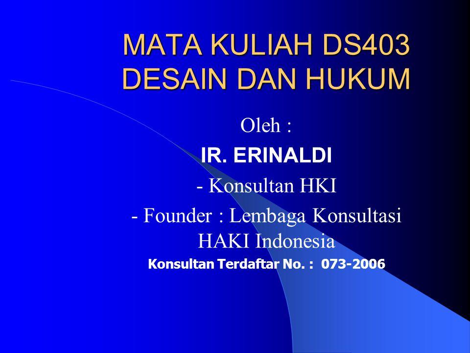 MATA KULIAH DS403 DESAIN DAN HUKUM