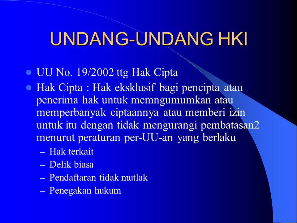UNDANG-UNDANG HKI UU No. 19/2002 ttg Hak Cipta