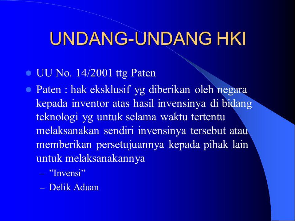UNDANG-UNDANG HKI UU No. 14/2001 ttg Paten