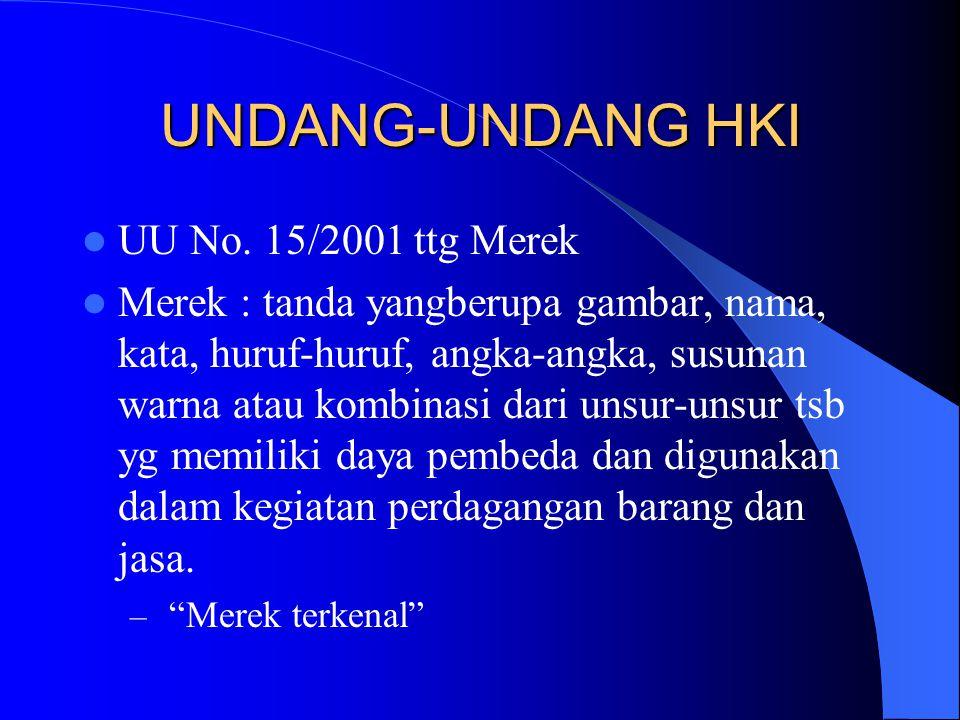UNDANG-UNDANG HKI UU No. 15/2001 ttg Merek