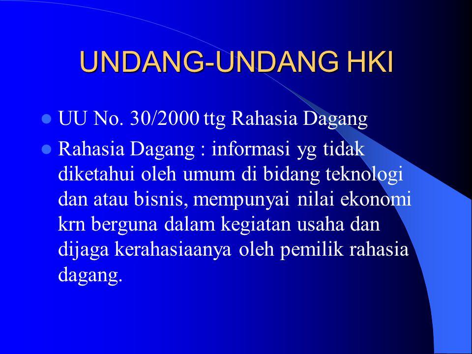 UNDANG-UNDANG HKI UU No. 30/2000 ttg Rahasia Dagang