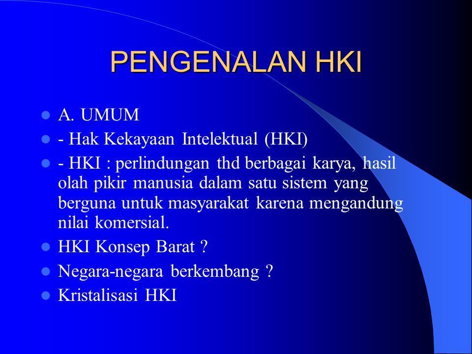 PENGENALAN HKI A. UMUM - Hak Kekayaan Intelektual (HKI)
