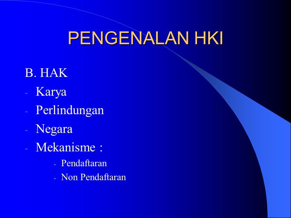 PENGENALAN HKI B. HAK Karya Perlindungan Negara Mekanisme :