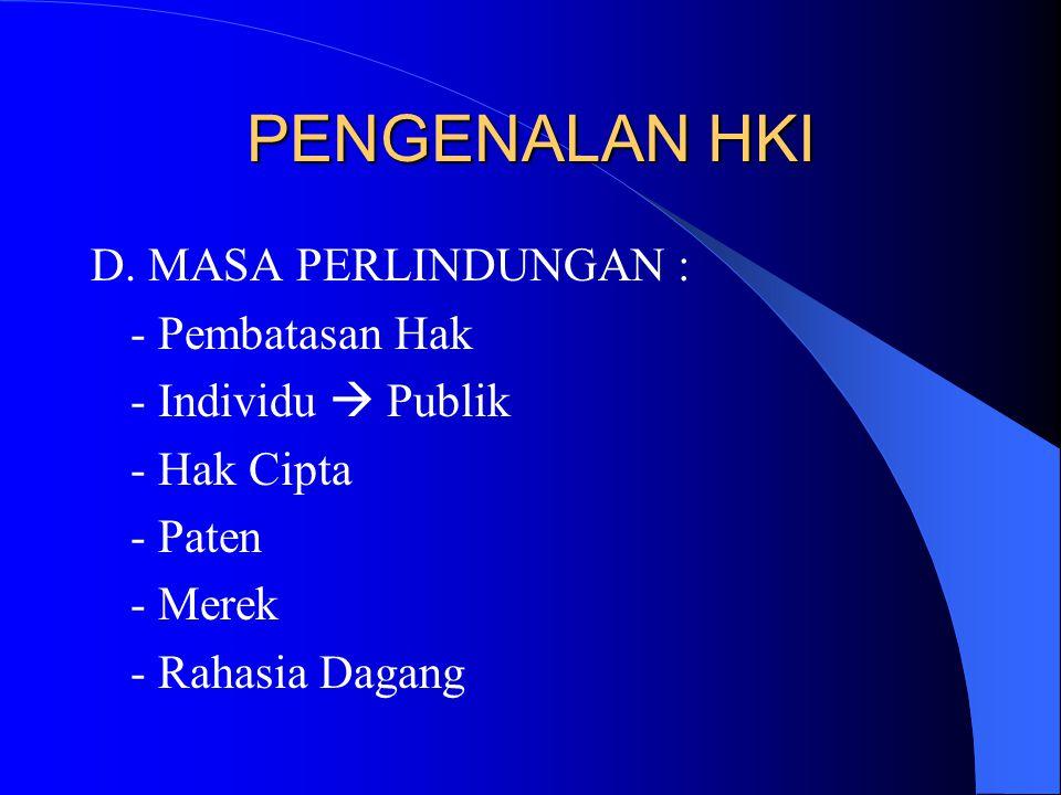 PENGENALAN HKI D. MASA PERLINDUNGAN : - Pembatasan Hak