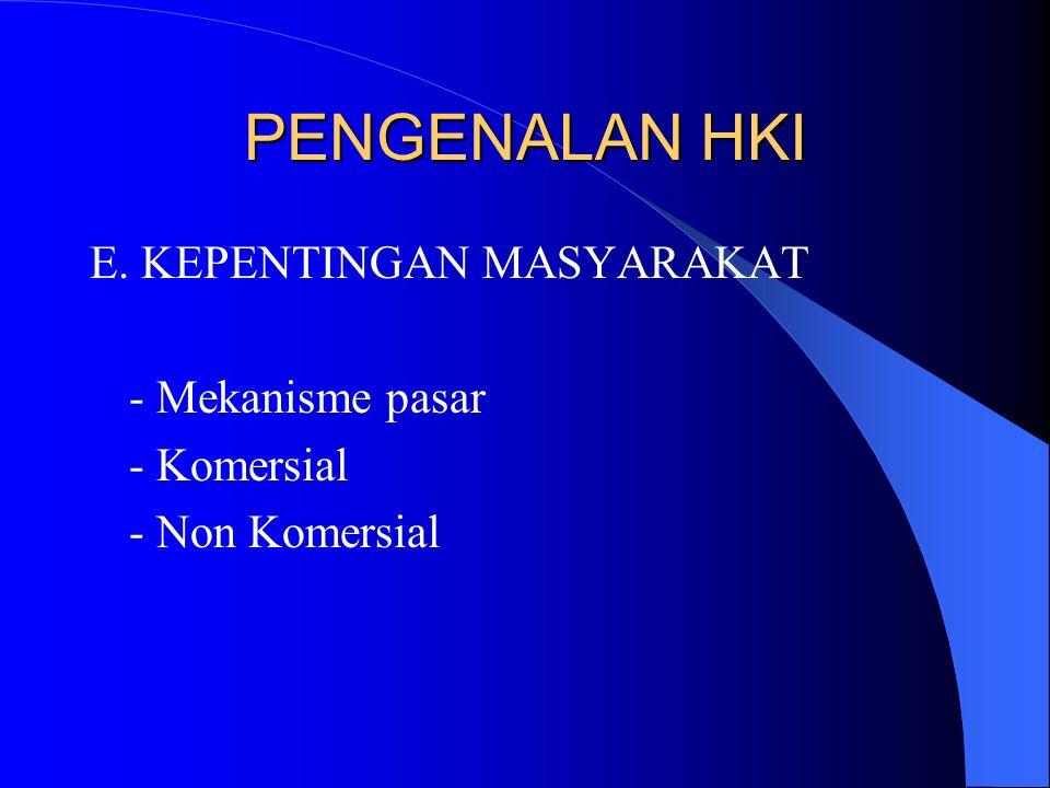 PENGENALAN HKI E. KEPENTINGAN MASYARAKAT - Mekanisme pasar - Komersial