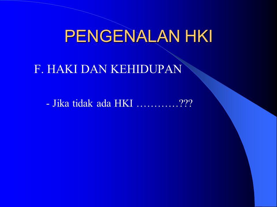 PENGENALAN HKI F. HAKI DAN KEHIDUPAN - Jika tidak ada HKI …………