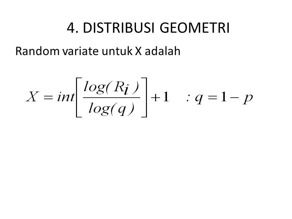 4. DISTRIBUSI GEOMETRI Random variate untuk X adalah