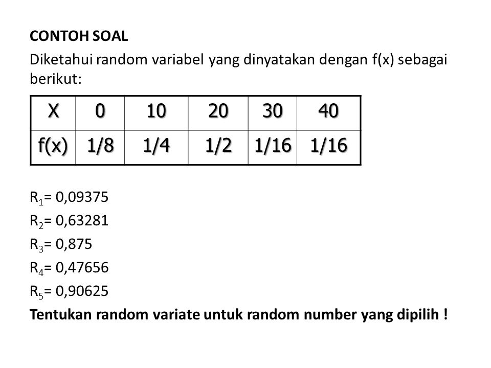 CONTOH SOAL Diketahui random variabel yang dinyatakan dengan f(x) sebagai berikut: R1= 0,09375. R2= 0,63281.