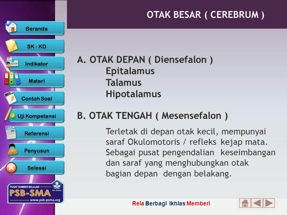 A. OTAK DEPAN ( Diensefalon ) Epitalamus Talamus Hipotalamus