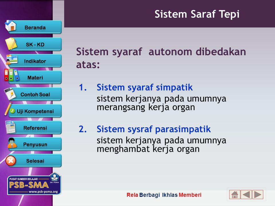 Sistem syaraf autonom dibedakan atas: