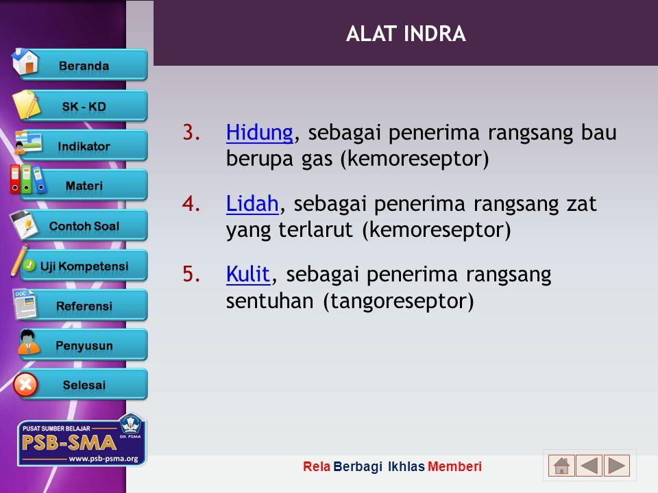 ALAT INDRA Hidung, sebagai penerima rangsang bau berupa gas (kemoreseptor) Lidah, sebagai penerima rangsang zat yang terlarut (kemoreseptor)
