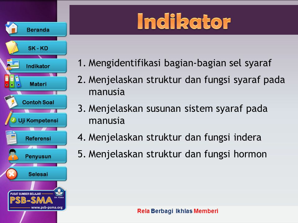 Indikator Mengidentifikasi bagian-bagian sel syaraf