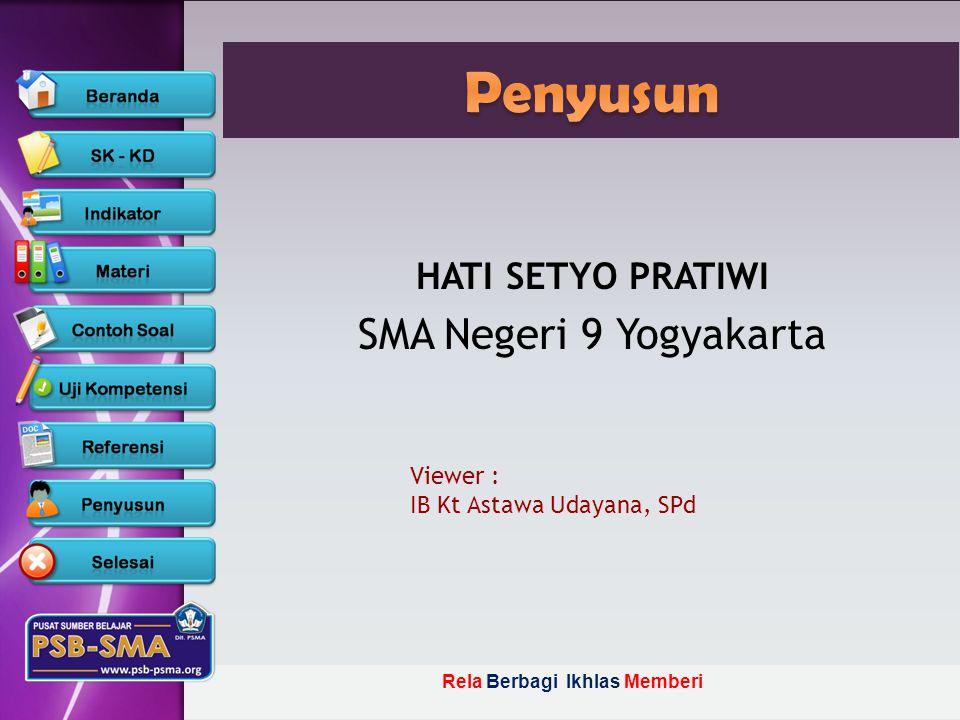 Penyusun SMA Negeri 9 Yogyakarta HATI SETYO PRATIWI Viewer :
