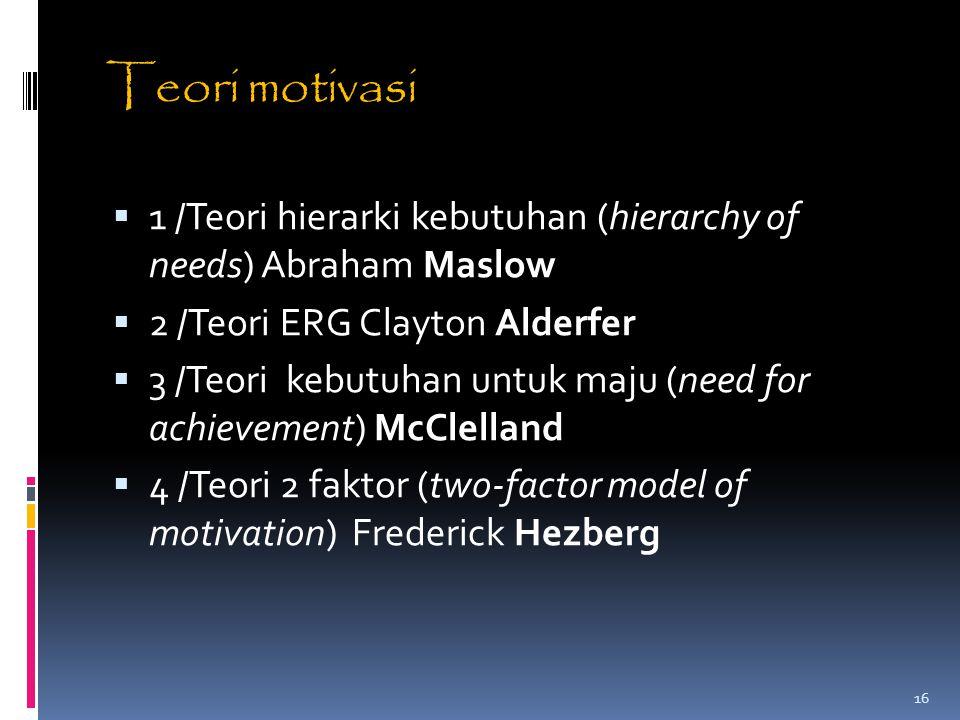 Teori motivasi 1 /Teori hierarki kebutuhan (hierarchy of needs) Abraham Maslow. 2 /Teori ERG Clayton Alderfer.
