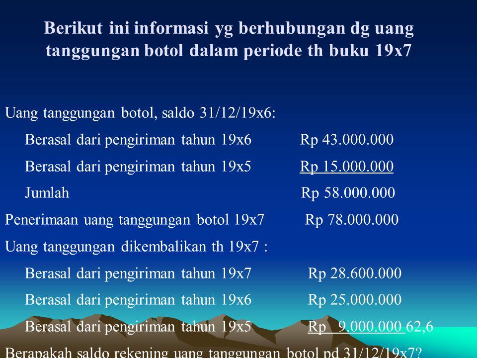 Uang tanggungan botol, so 1/1/19x7 Rp 58.000.000(K)
