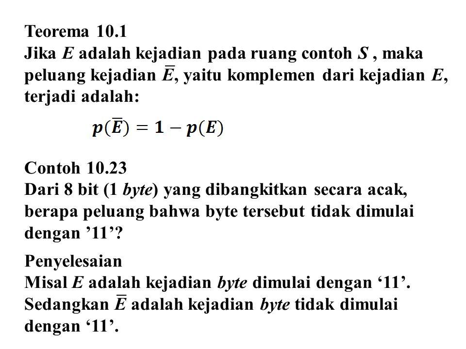 Teorema 10.1 Jika E adalah kejadian pada ruang contoh S , maka peluang kejadian E, yaitu komplemen dari kejadian E, terjadi adalah: