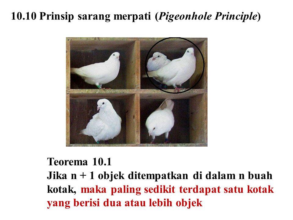 10.10 Prinsip sarang merpati (Pigeonhole Principle)