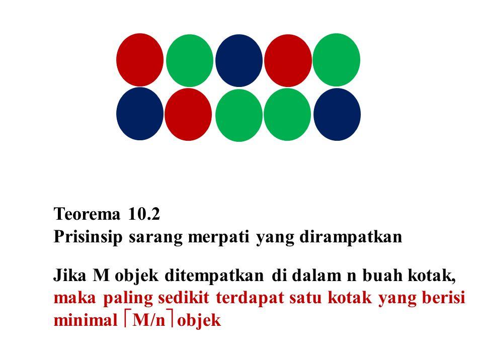 Teorema 10.2 Prisinsip sarang merpati yang dirampatkan.