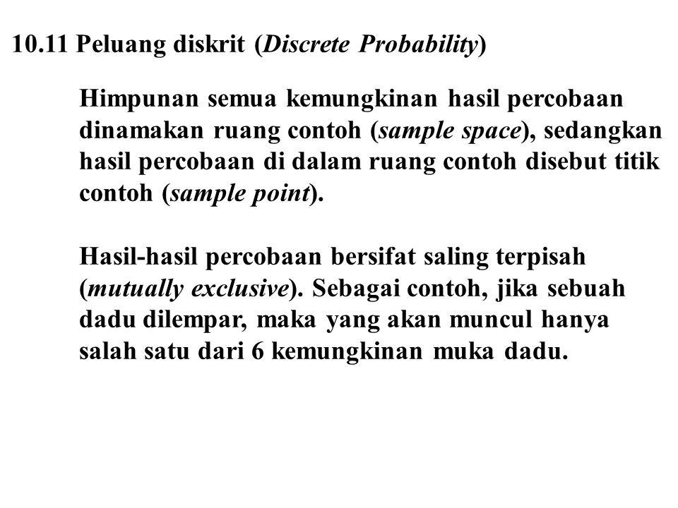 10.11 Peluang diskrit (Discrete Probability)