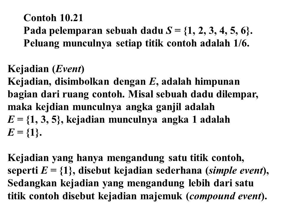 Contoh 10.21 Pada pelemparan sebuah dadu S = {1, 2, 3, 4, 5, 6}. Peluang munculnya setiap titik contoh adalah 1/6.