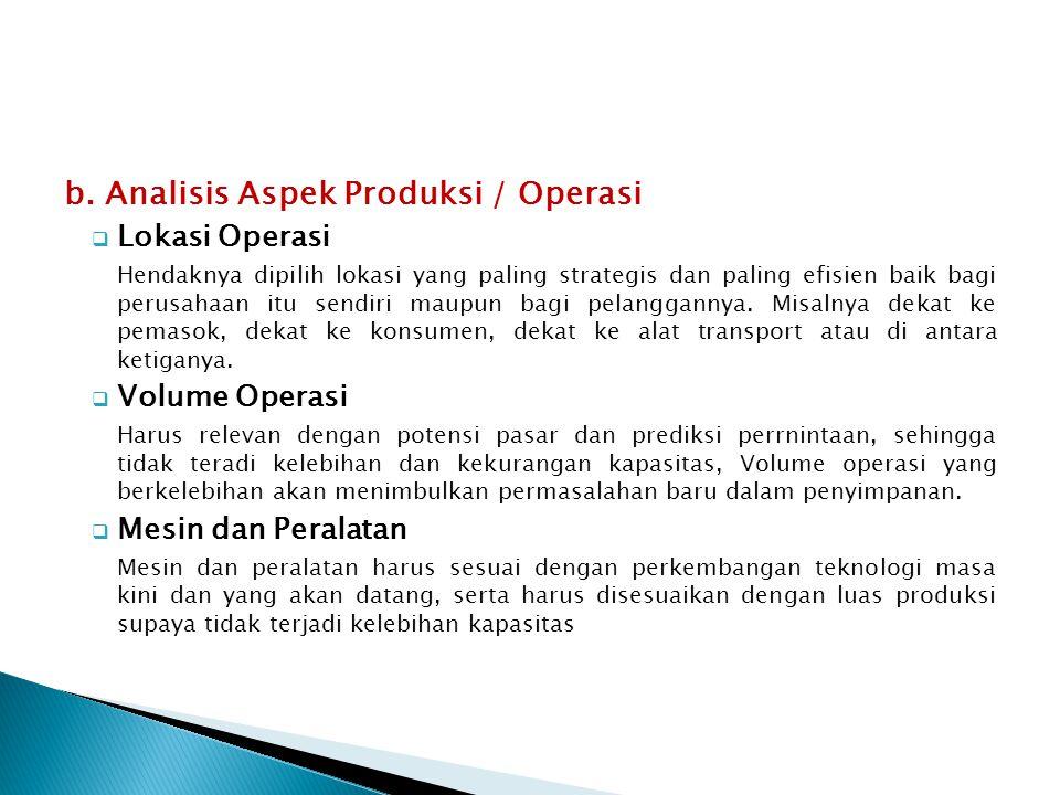 b. Analisis Aspek Produksi / Operasi