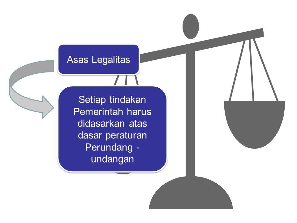 Asas Legalitas Setiap tindakan Pemerintah harus didasarkan atas dasar peraturan Perundang -undangan