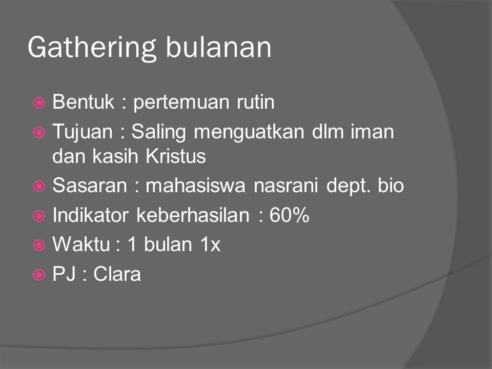 Gathering bulanan Bentuk : pertemuan rutin
