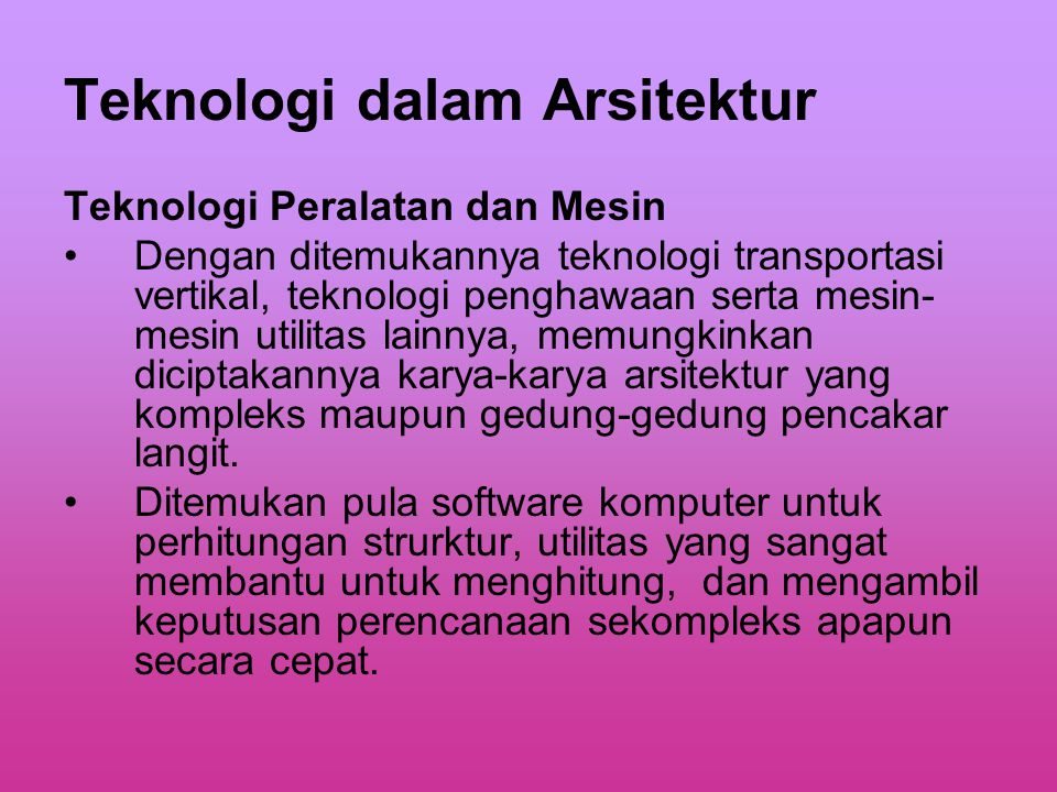 Teknologi dalam Arsitektur